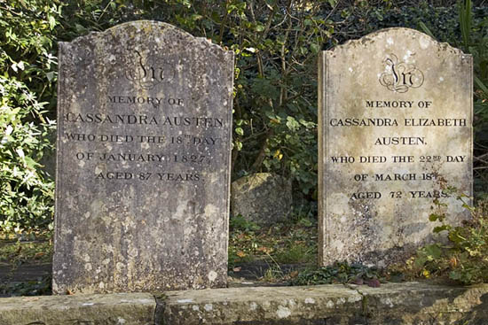 Headstones Jane Austen family