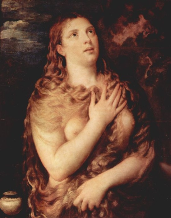 Titian red refers to the red hair in Titian's paintings such as this one of Mary Magdalene, dated between 1530 and 1535.