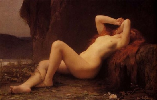 Jules Joseph Lefebvre's Mary Magdalene in the Cave (1876) certainly prompts the question of what she was doing in that cave. Lefebvre specialized in nudes.