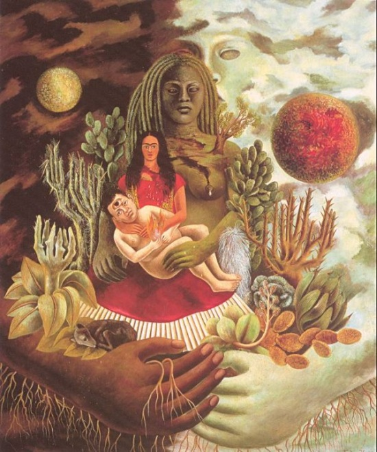 Kahlo's painting, The Love Embrace of the Universe, the Earth (Mexico), Diego, Me and Senor Xolotl